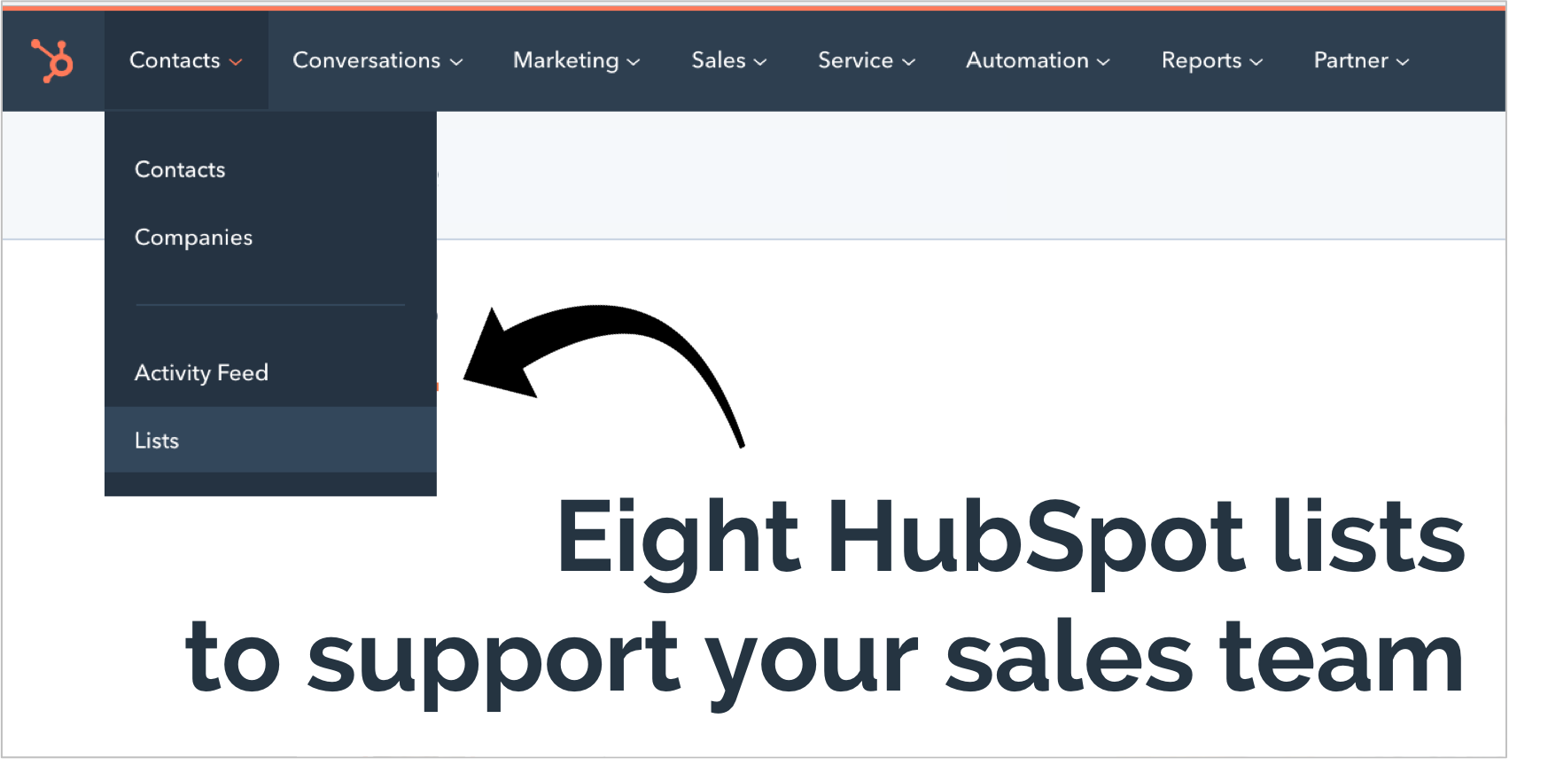 Eight HubSpot Lists