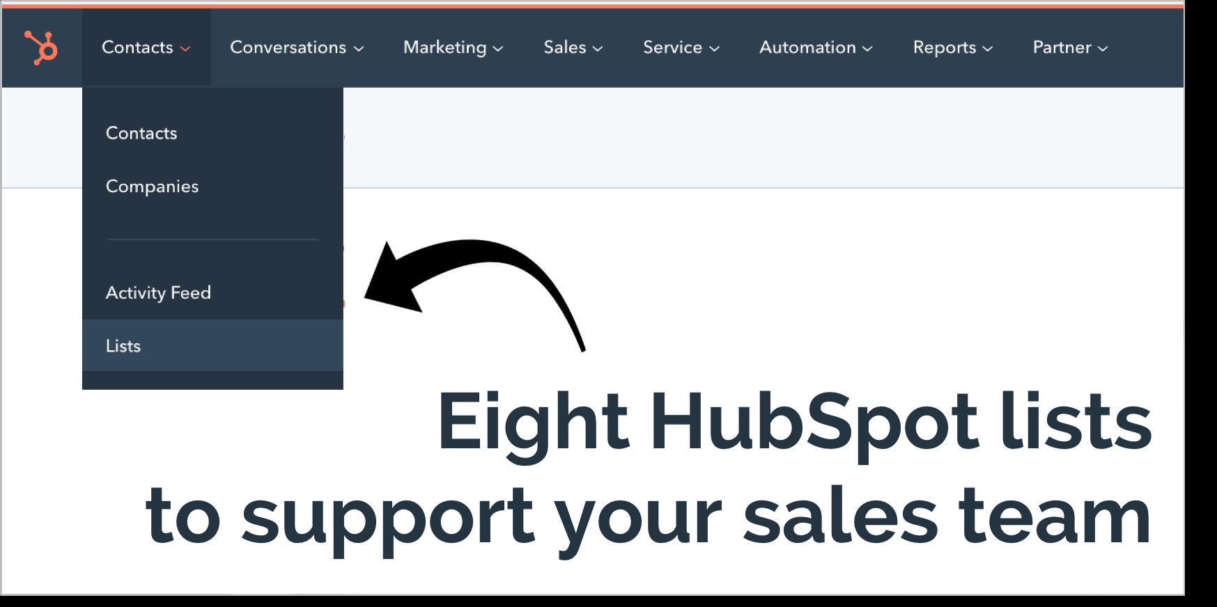 Eight HubSpot Lists