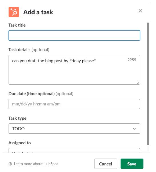 Add a task HubSpot Slack