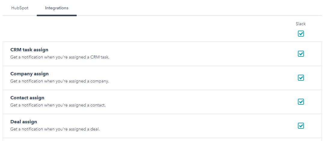 Slack Integration notifications preferences